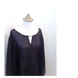 Alyx Women Sheer Black Blouse Chevron Tunic Top 2X